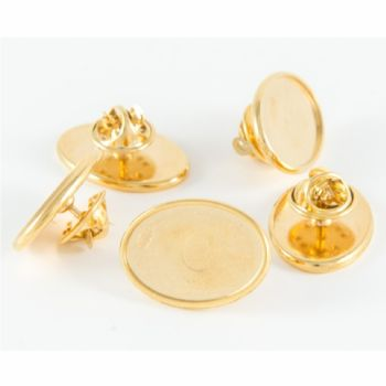 Premium Badge Blank oval 23x15mm gold clutch and clear dome